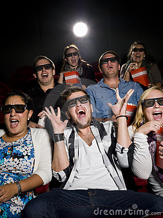 Free Scared Movie Spectators Stock Images - 21373924