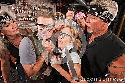 Scared Nerd Couple in Biker Bar