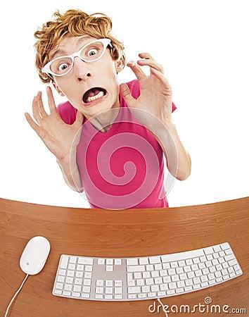 Scared office worker