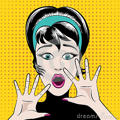 Free Scared Pop Art Woman Stock Photography - 51778622