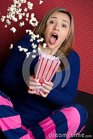 Scared Popcorn Girl
