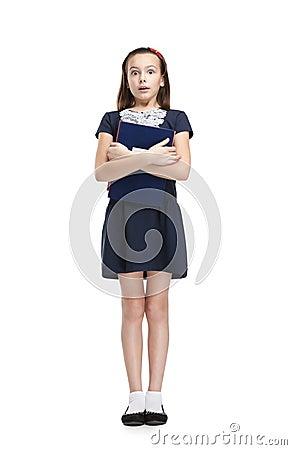Scared schoolgirl