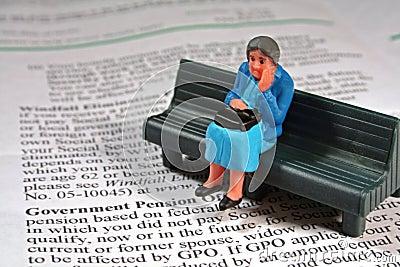 Scared senior woman - pension