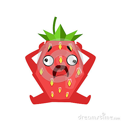 Scared strawberry sitting and holding its head. Cute cartoon emoji character vector Illustration Vector Illustration