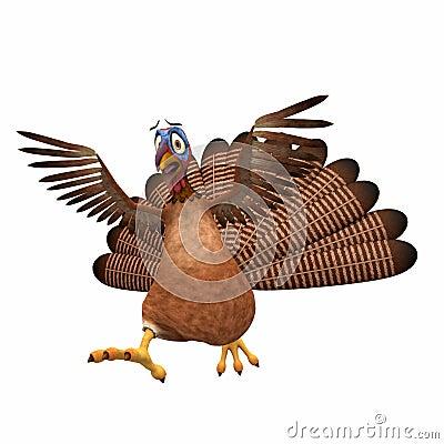 Scared Toon Turkey Stock Photo