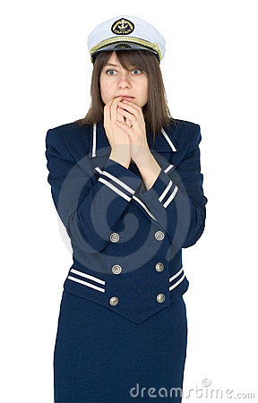 Scared woman in uniform of sea captain