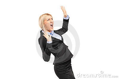 Scared young businesswoman shouting