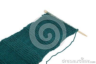 Scarf on knitting needle