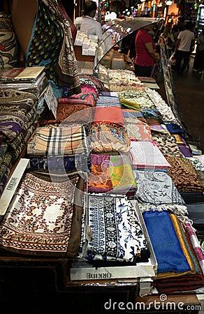 Scarfs in Turkish market. Istanbul