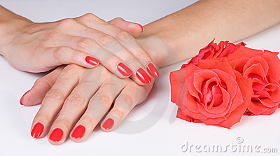 Scarlet manicure and roses