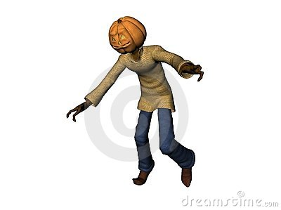 Scary 3D pumpkin head man