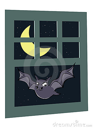 Scary bat in window