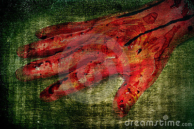 Scary bloody hand