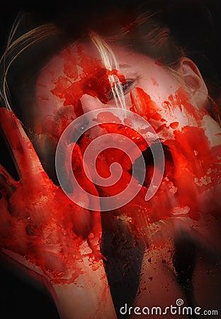 Scary Bloody Woman in Horror