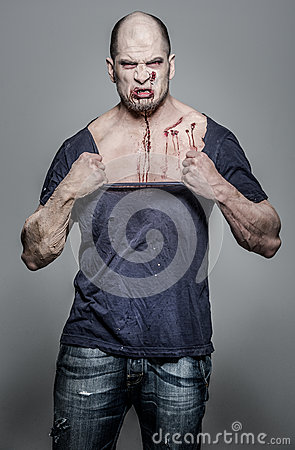 Scary and bloody zombie man