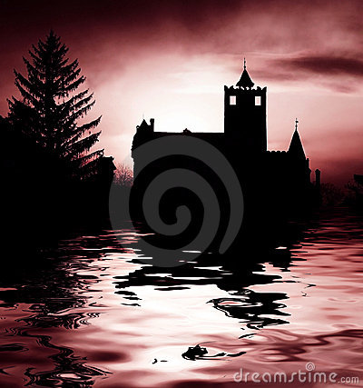 Scary castle and lake