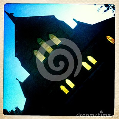 Scary church at night