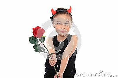 Scary cute little asian girl in black Halloween