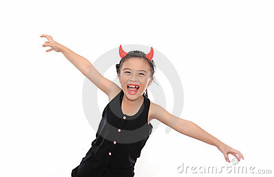 Scary cute little girl in black Halloween costume