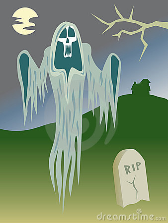 Scary Ghost in the Graveyard