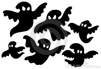 Scary ghost silhouettes vector