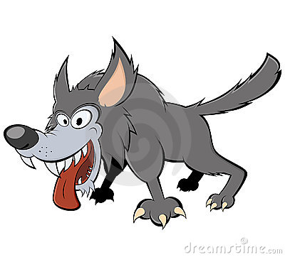 Scary gray wolf