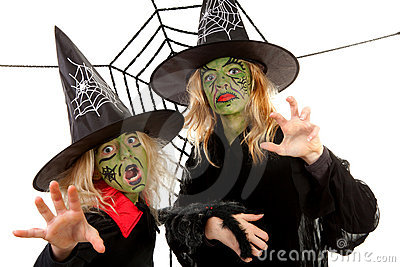 Scary green witches for Halloween