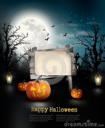Free Scary Halloween Background With A Wooden Sign. Royalty Free Stock Photography - 61202527