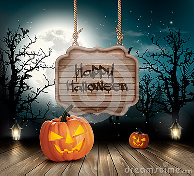 Scary Halloween background with a wooden sign. Vector Illustration