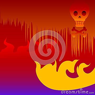 Scary Halloween Hell Skull