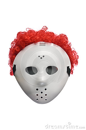 Scary Halloween Hockey Mask with Red Hair