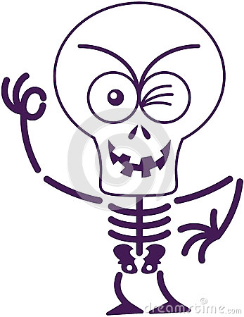 Free Scary Halloween Skeleton Winking And Making An OK Sign Royalty Free Stock Images - 45348889