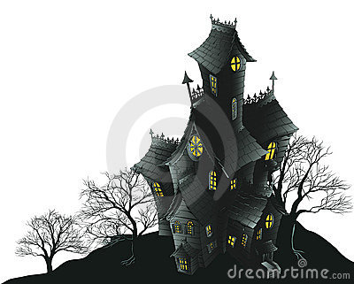 Scary haunted house and trees illustration