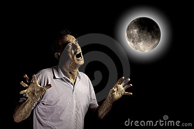 Scary Man Beast under Moon at Halloween