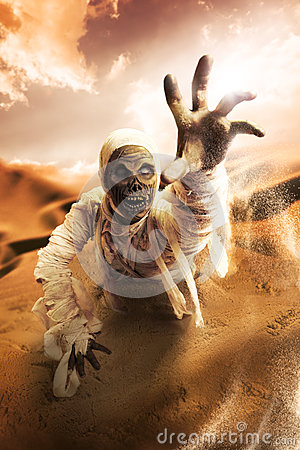 Free Scary Mummy In A Desert At Sunset Stock Image - 40363411