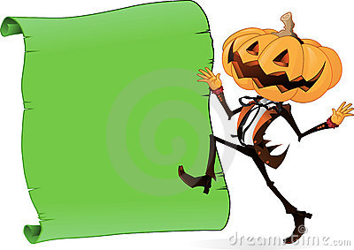 Scary Pumpkin Character with Scroll