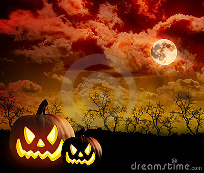 Scary Pumpkin Cloud Background