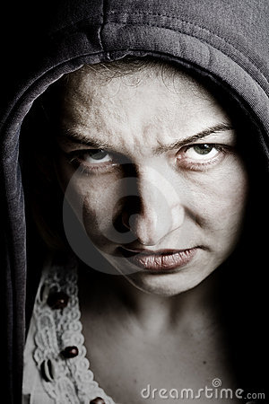 Free Scary Sinister Woman With Spooky Evil Eyes Royalty Free Stock Images - 11173029