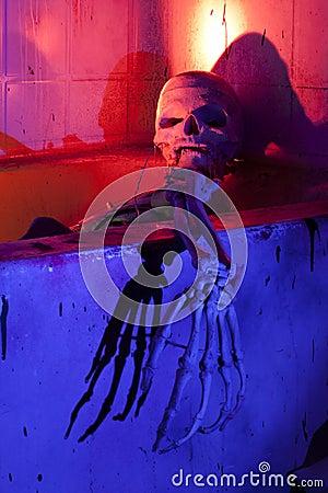 Scary Skeleton in Bathtub