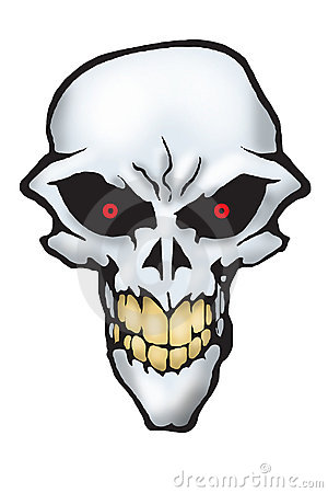Scary skull with red eyes