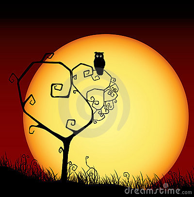 Scary valentine card with tree and sunset