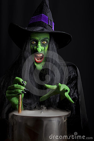 Scary Witch Stirring A Cauldron Royalty Free Stock Photography - Image ...