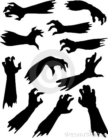 Scary zombie hands silhouettes set.