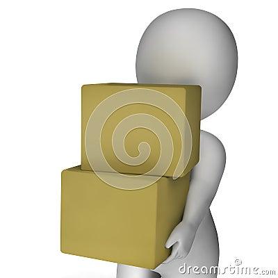 Scatole della tenuta dell uomo che mostrano consegna e che portano i pacchetti