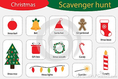 Scavenger hunt, christmas at home, different colorful pictures for children, fun education search game for kids Vector Illustration