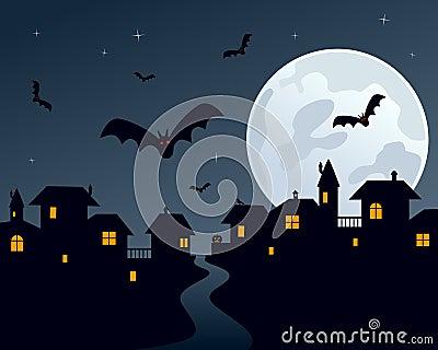 Scena della città di notte di Halloween