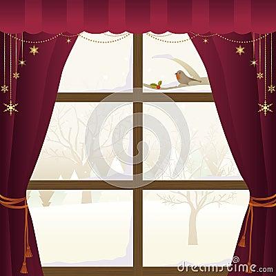 Scena di inverno attraverso una finestra