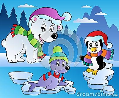 Scena di inverno con i vari animali 4 fotografia stock - Animali in inverno clipart ...