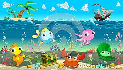 Scena divertente sotto il mare