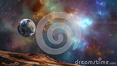 Scena kosmiczna Planeta Ziemi lata w kolorowej mgławicy fraktalnej Elementy dostarczone przez NASA Renderowanie 3W zbiory